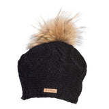 Cable Beret w. Raccoon Fur Pompom