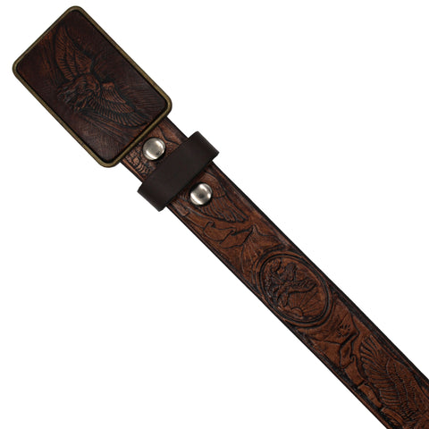 Leather Belt - Eagle Pattern