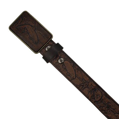 Leather Belt - Fish Pattern