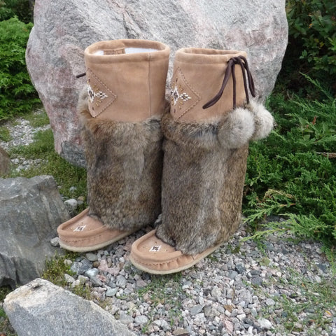 Women's Tall Rabbit Trimmed Leather Mukluks. Made in Canada