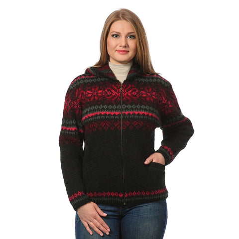 Lined Zippered Cardigan with Hood - Women's