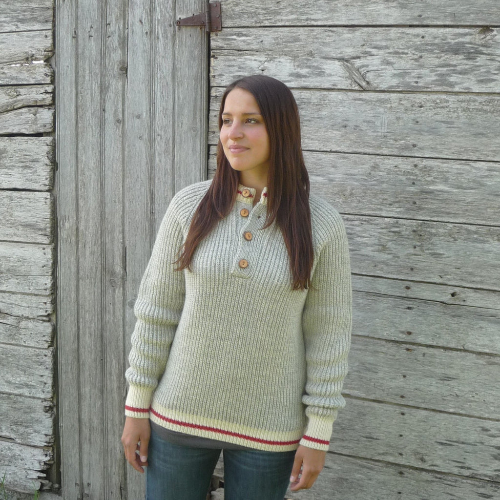 100% Wool 4 button Worksock Sweater. Made in Canada