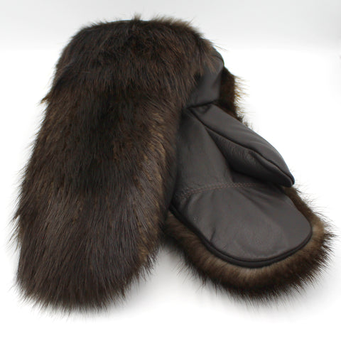 Leather Mittens - Beaver