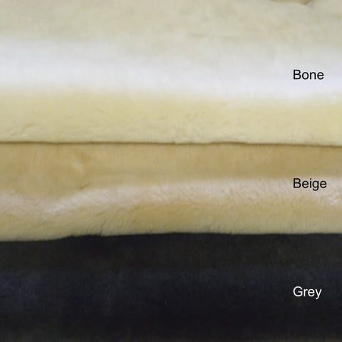 15 mm Shearling Sheepskin. Colours: Bone, Beige or Grey