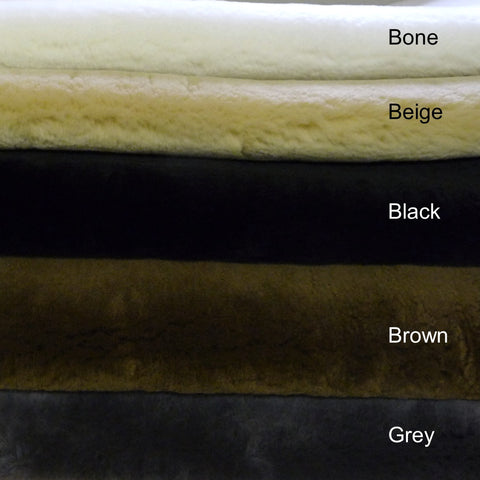 25 mm Shearling Sheepskin. Colours: Bone, Beige, Black, Brown or Grey