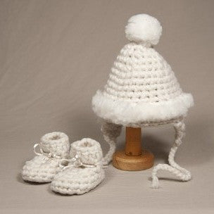 100% Wool Baby Hat and Booties. Made in Canada