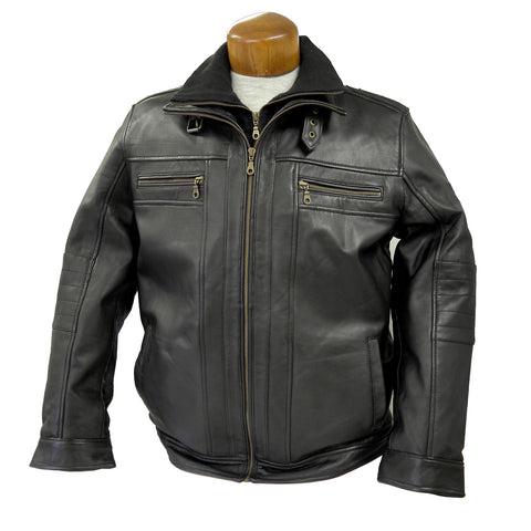 Double Collar Leather Jacket - Men's