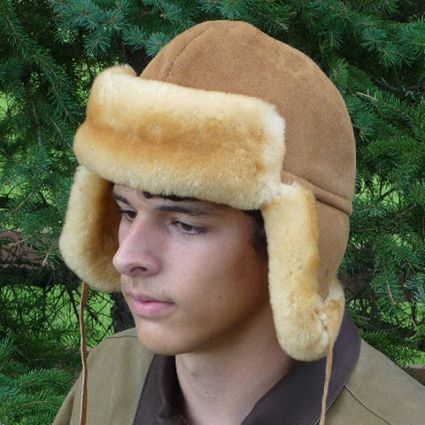 Men's Sheepskin Trapper Hat. Made in Canada by Egli's Sheep Farm