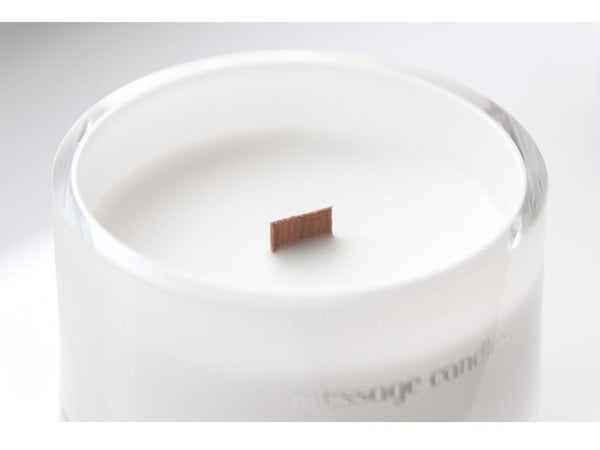 white luxury message candle
