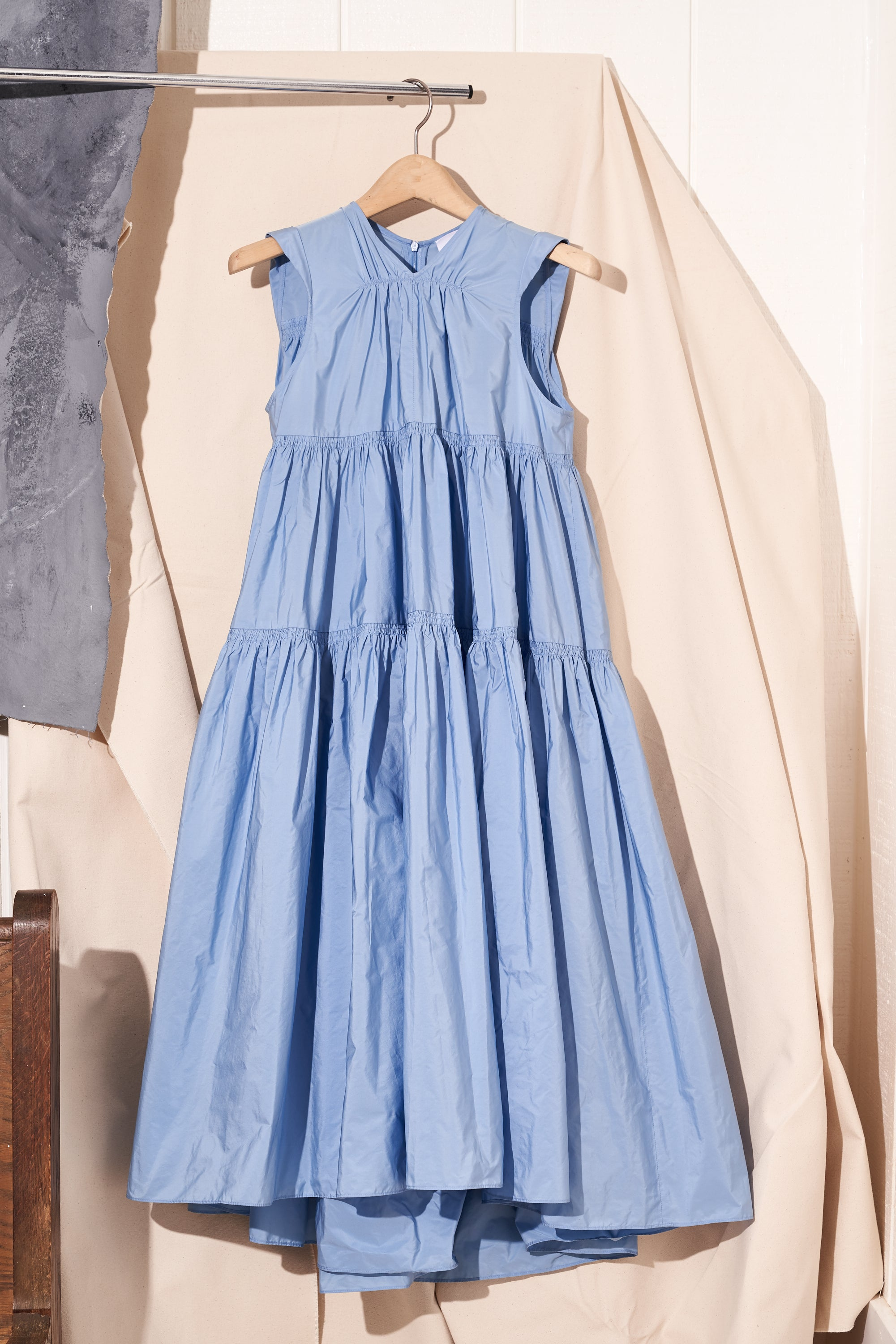 volume maxi dress in blue by patou, front view