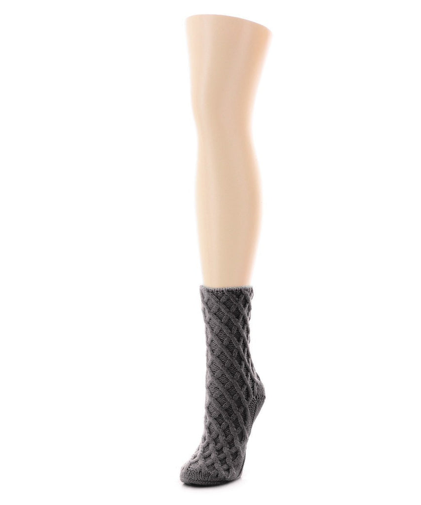 Diamond Cross Chunky Knit Boot Sock - MeMoi - 2