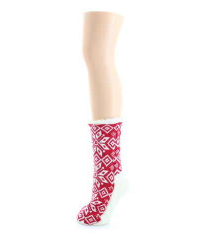 Holiday Flake Sherpa Lined Lounge Sock - MeMoi - 1