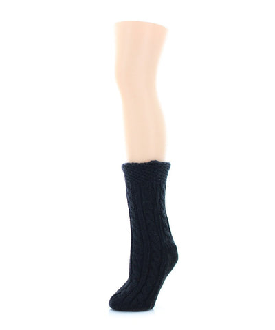 Floral Cross Sherpa Lined Lounge Sock - MeMoi - 1