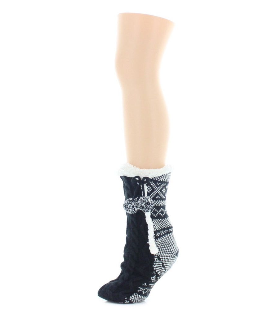 Pattern Twist Sherpa Lined Lounge Sock - MeMoi - 1