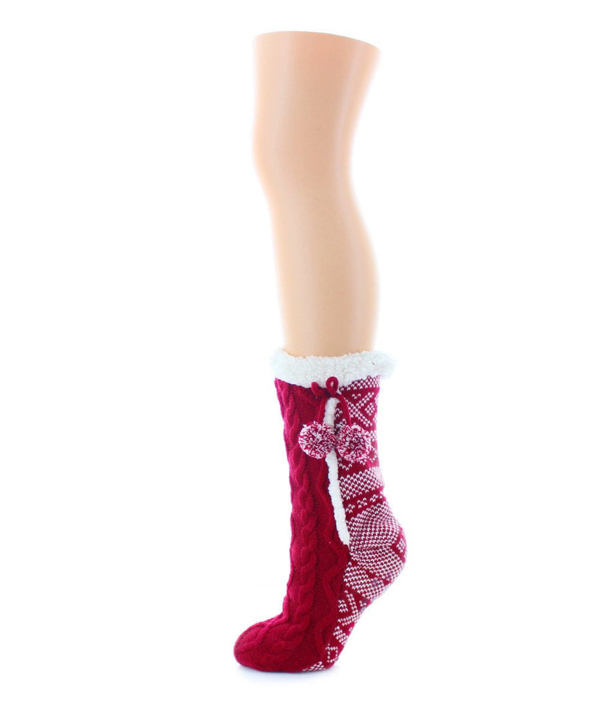 Pattern Twist Sherpa Lined Lounge Sock - MeMoi - 2
