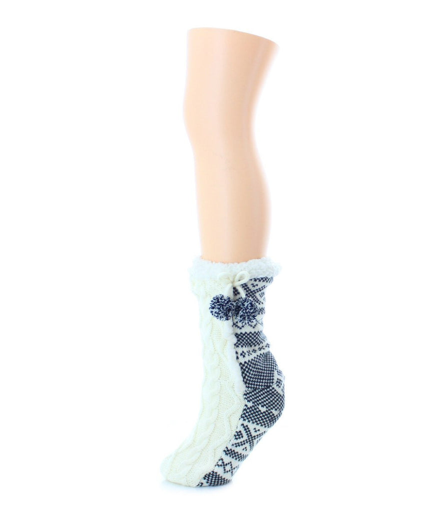 Pattern Twist Sherpa Lined Lounge Sock - MeMoi - 4