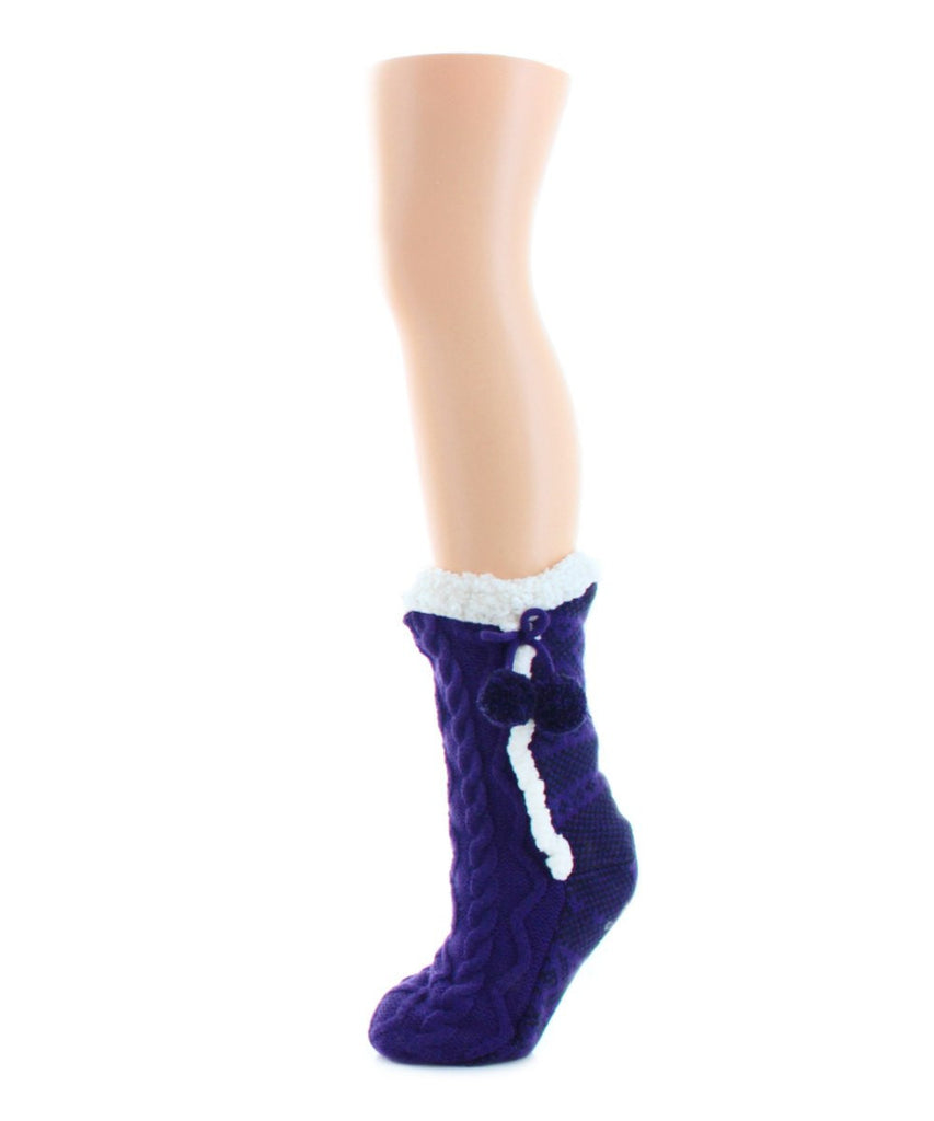 Pattern Twist Sherpa Lined Lounge Sock - MeMoi - 3
