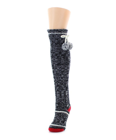 Stripe Sketch Sherpa Lined Knee Length Lounge Sock - MeMoi - 1