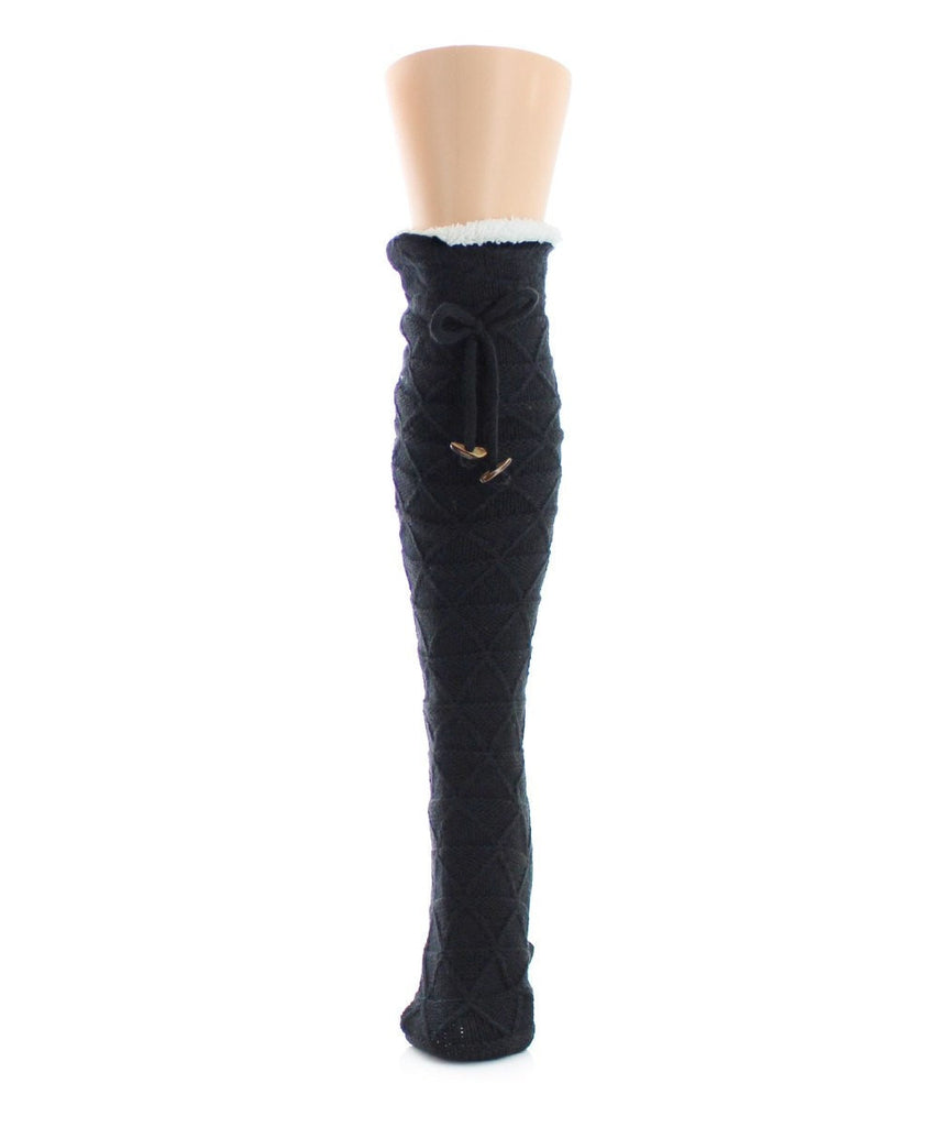 Bow Knit Sherpa Lined Knee Length Lounge Sock - MeMoi - 1