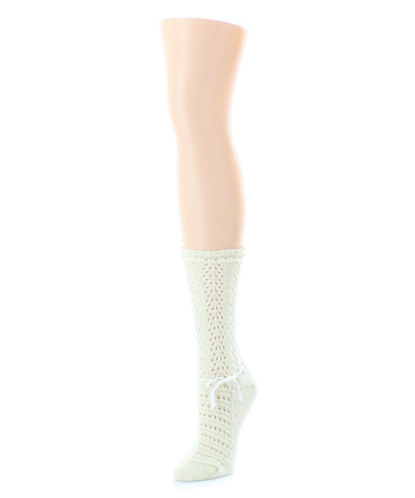 Threaded Ribbon Chunky Knit Boot Sock - MeMoi - 3