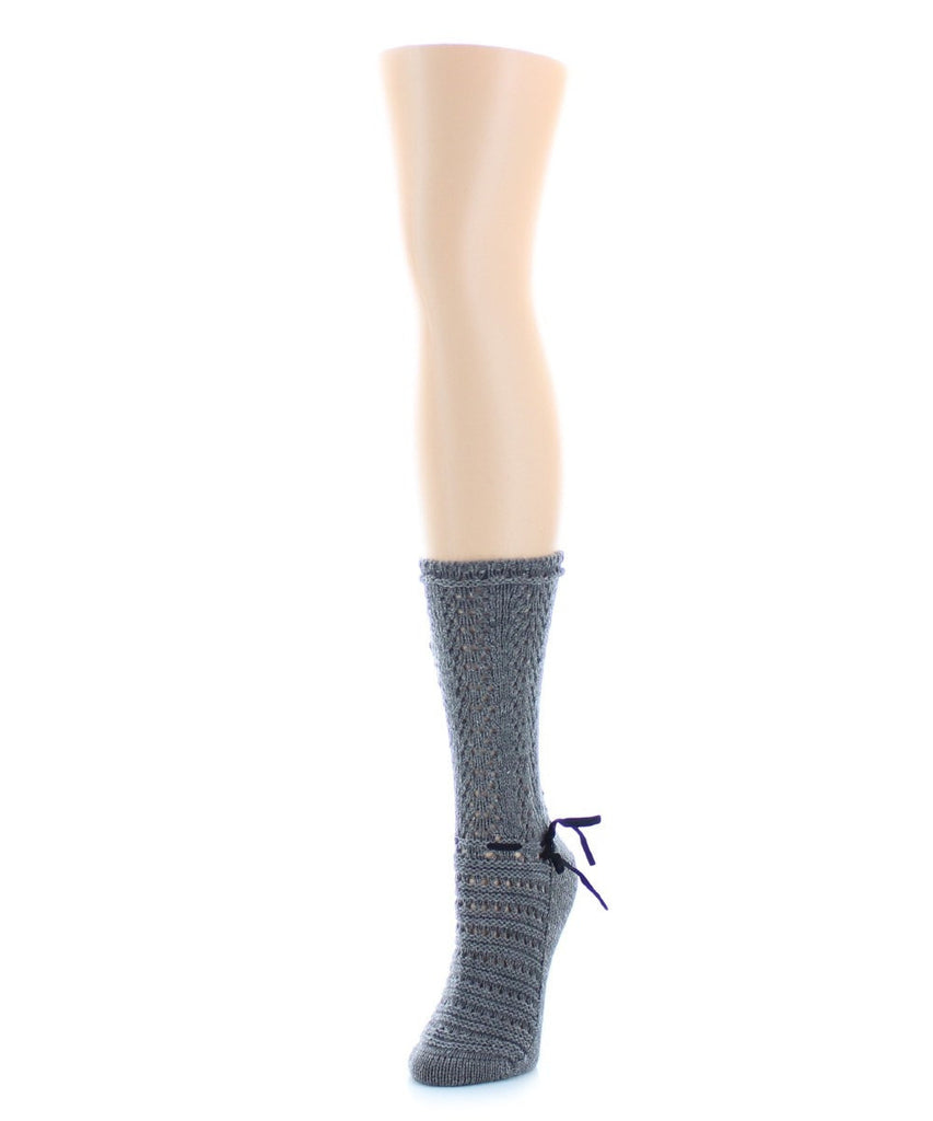 Threaded Ribbon Chunky Knit Boot Sock - MeMoi - 4