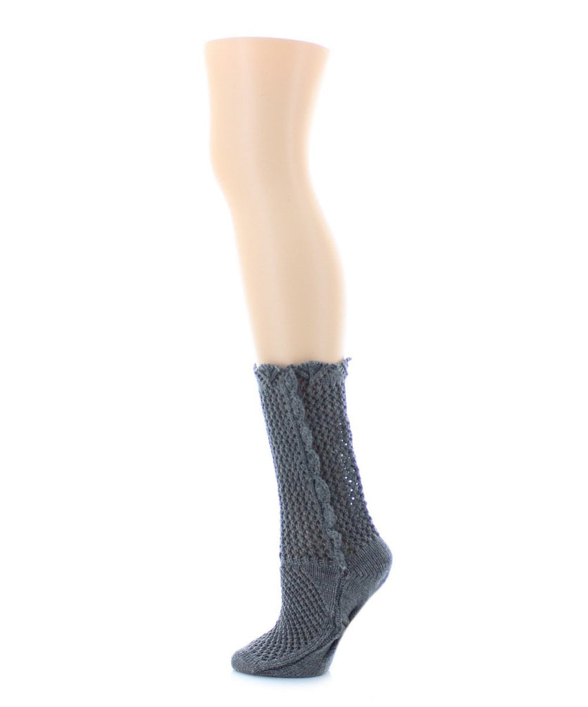 Scallop Side Chunky Knit Boot Sock - MeMoi - 3