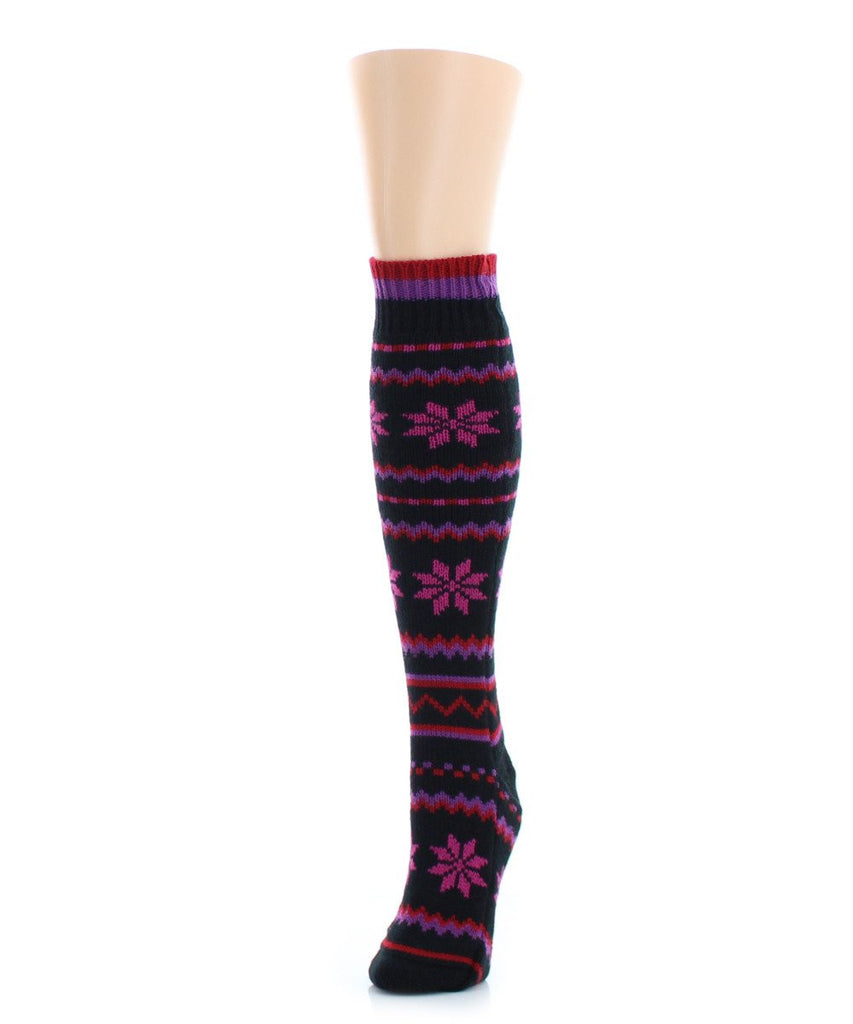 Flaketion Knit Knee-High Flower Socks - MeMoi - 4