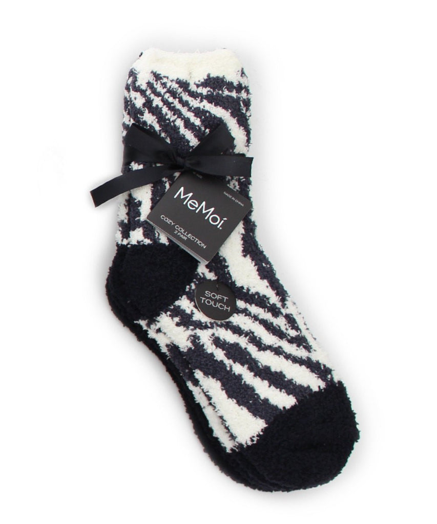 Zebra/Solid Cozy Collection 2 Pair Pack - MeMoi - 2