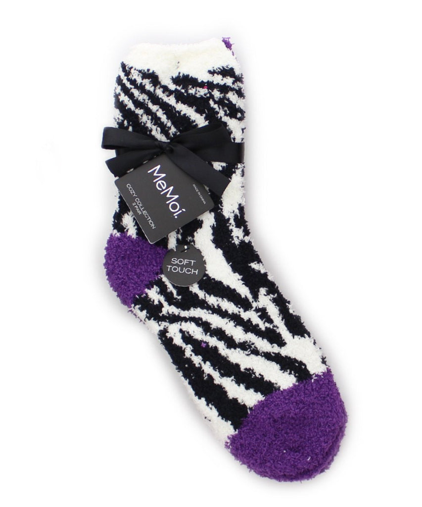 Zebra/Solid Cozy Collection 2 Pair Pack - MeMoi - 5