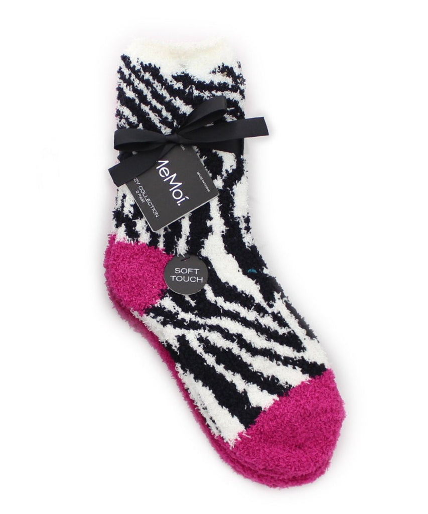 Zebra/Solid Cozy Collection 2 Pair Pack - MeMoi - 7