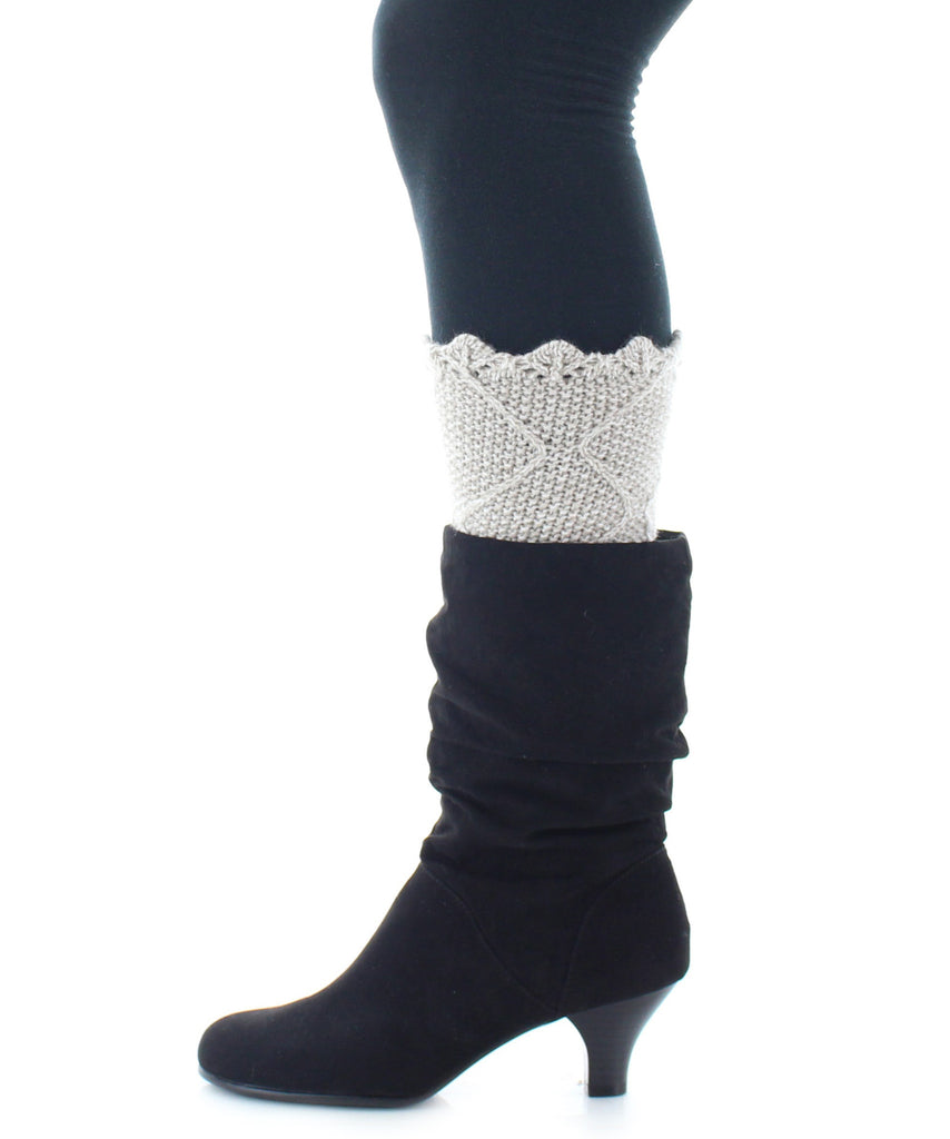 Boot Toppers | Knit Socks | Giant Diamond Pattern - MeMoi - 3