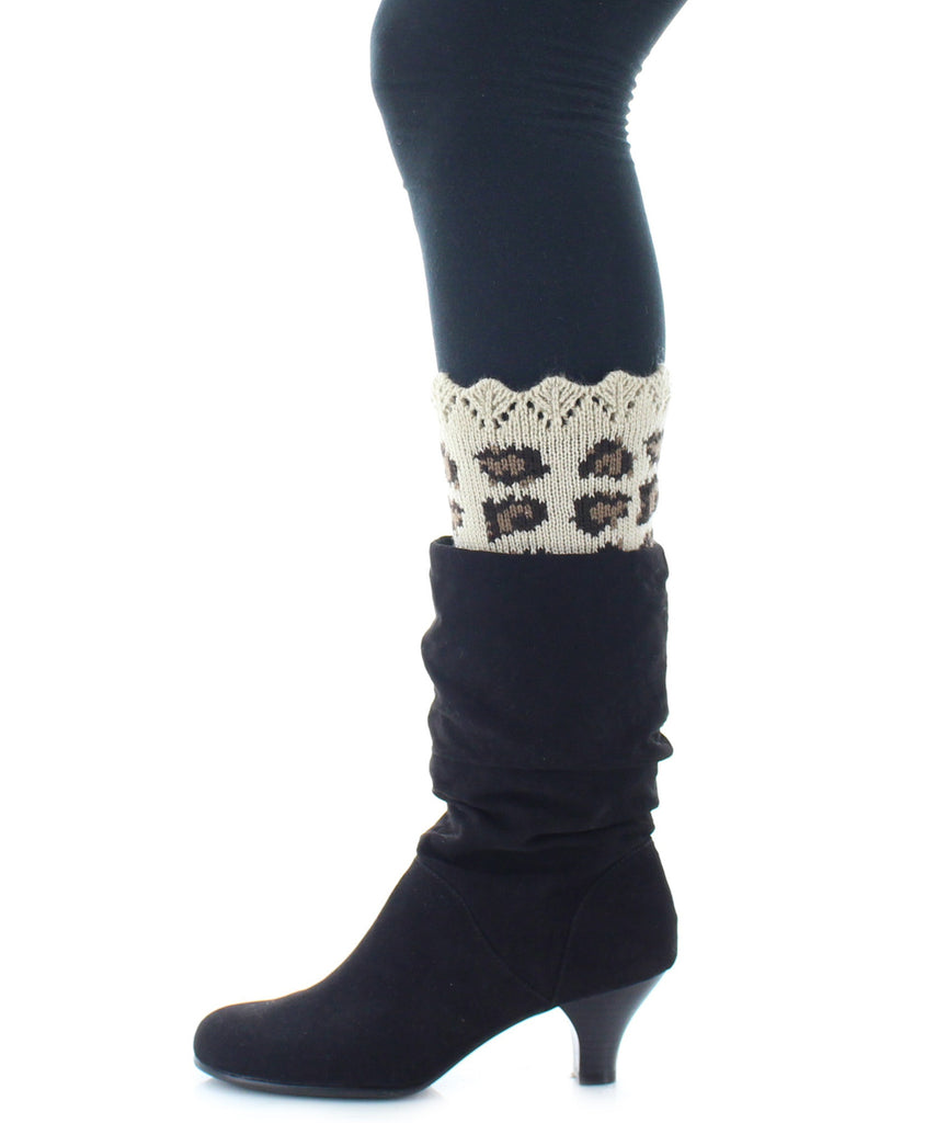 Boot Toppers | Knit Socks | Cheetah Print - MeMoi - 2