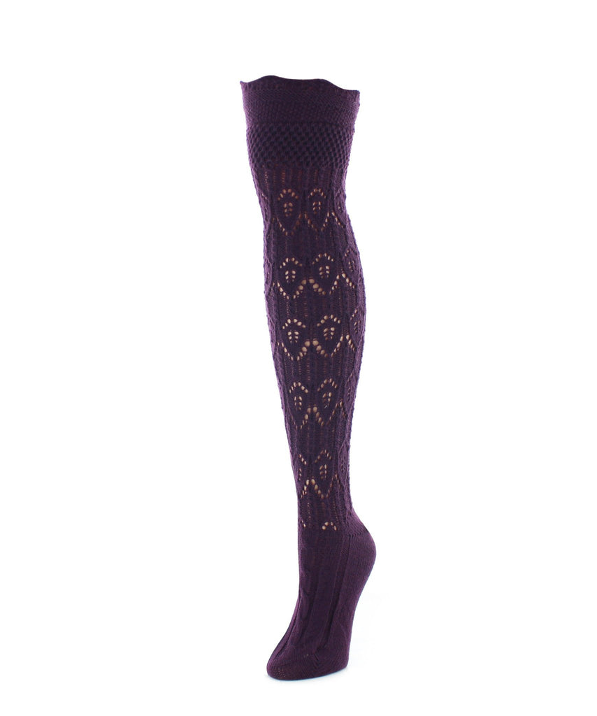 Diamond Pointelle Chunky Knit Over-The-Knee Socks - MeMoi - 2