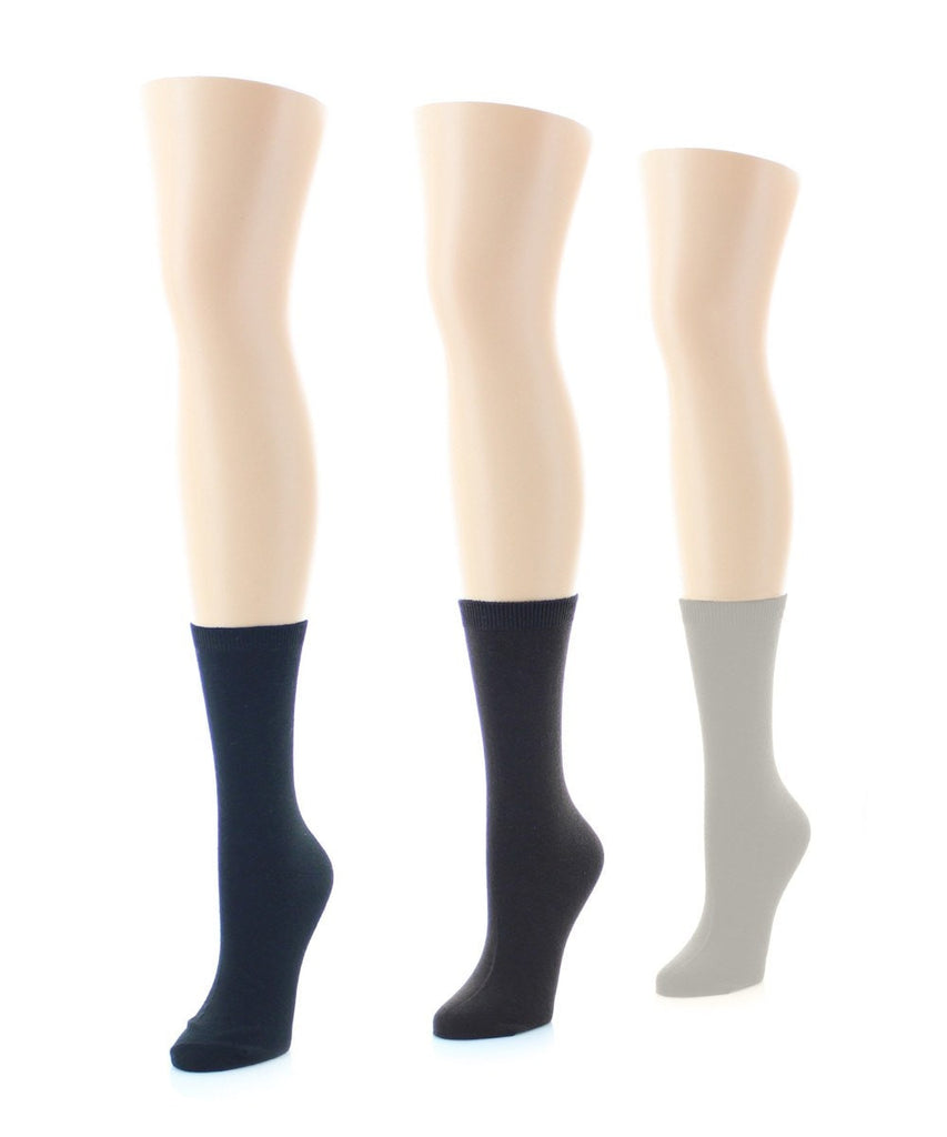 Basic Flat Soft-Fit Women's Crew Knit Socks (3 Pairs/1 Size) - MeMoi - 1