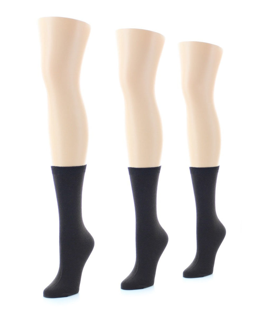 Basic Flat Soft-Fit Women's Crew Knit Socks (3 Pairs/1 Size) - MeMoi - 2