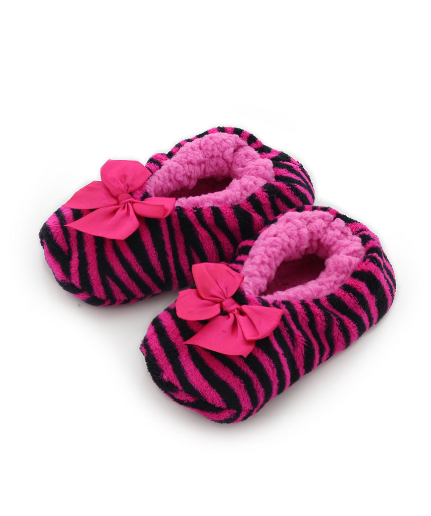 Girls Zebra Fluffy Soft Cozy Slippers - MeMoi - 2