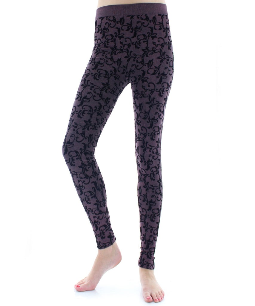 Flocked Vine Seamless Leggings - MeMoi - 1