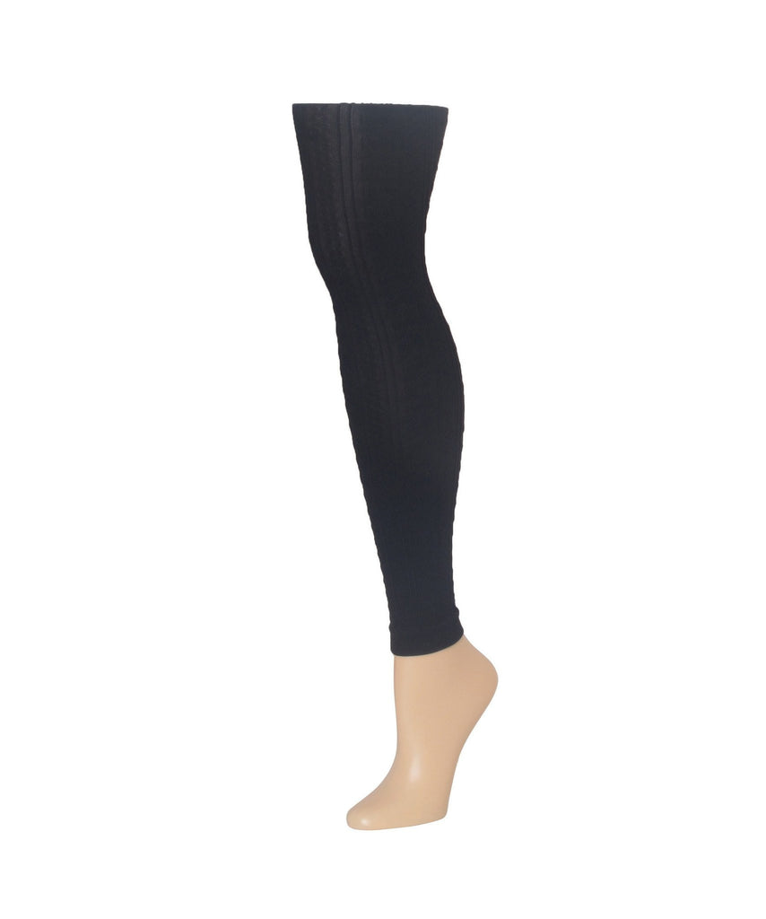 Black Footless Textured Tights All Sizes - MeMoi - 1