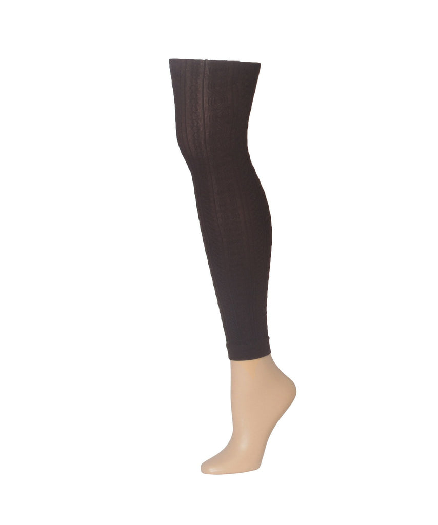 Black Footless Textured Tights All Sizes - MeMoi - 2