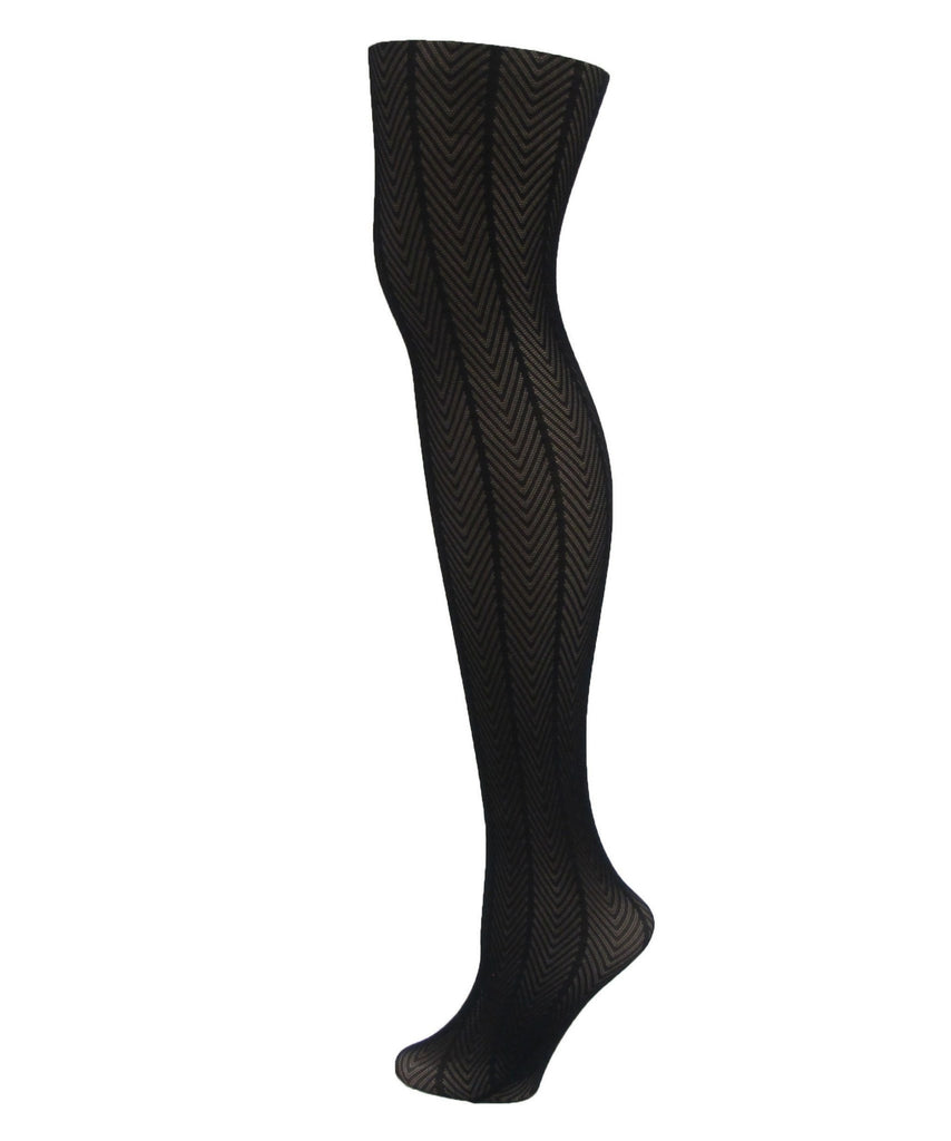 Women's Herringbone Textured Opaque Tights - MeMoi - 2