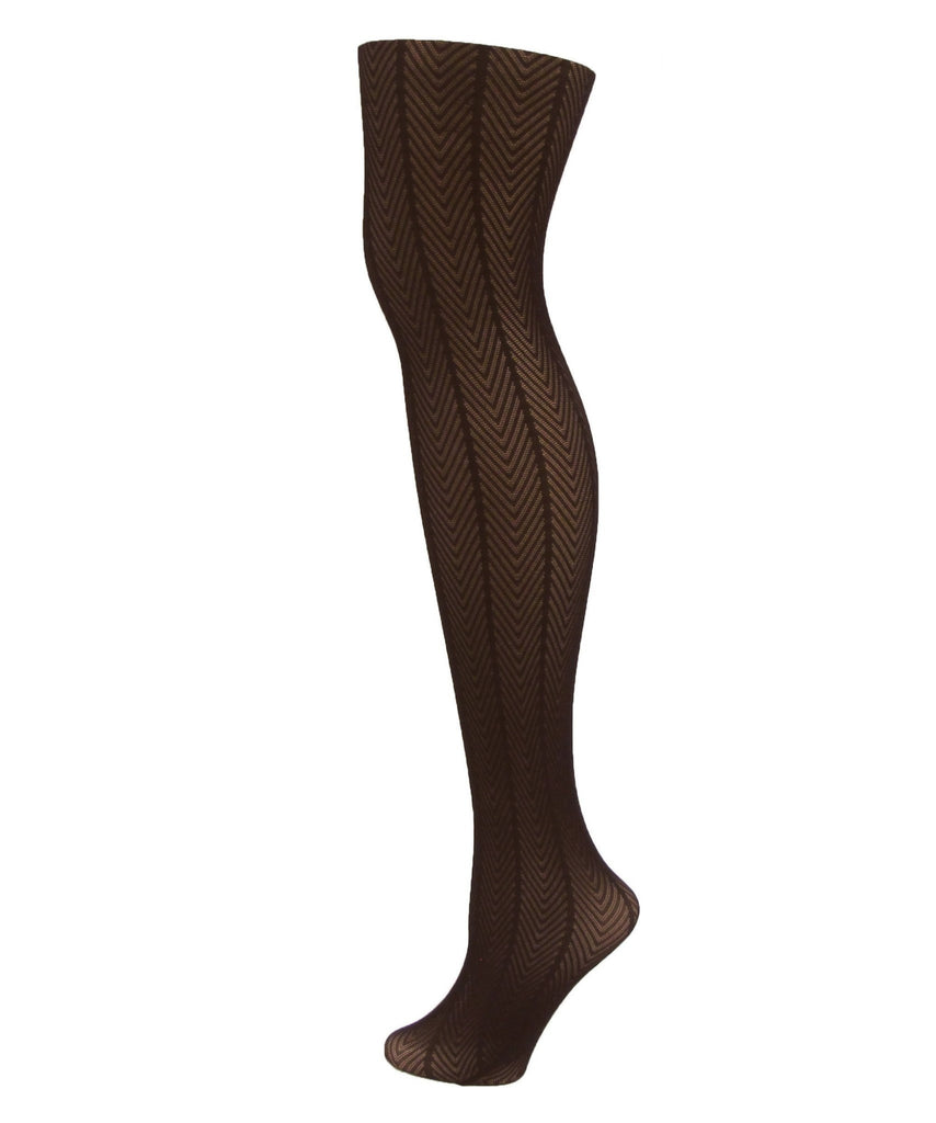 Women's Herringbone Textured Opaque Tights - MeMoi - 1