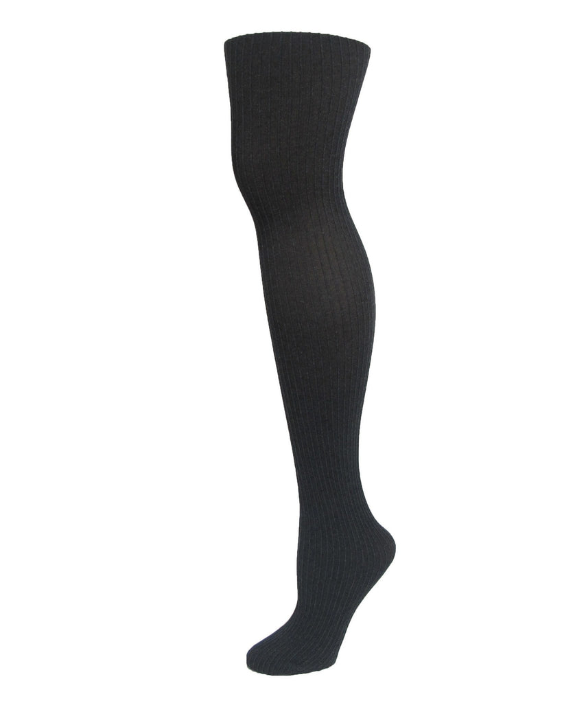Luxury Divas Black Ribbed Pinstripe Tights - MeMoi - 1