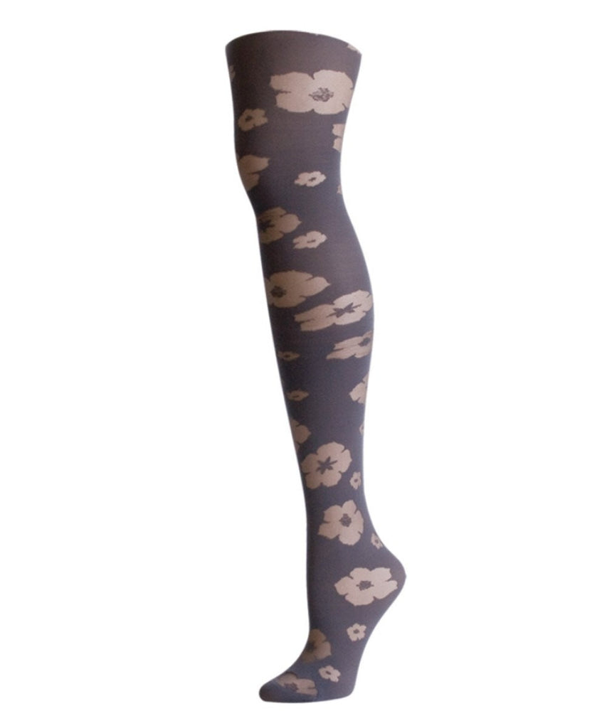 Flocked Floral Tights - MeMoi - 3
