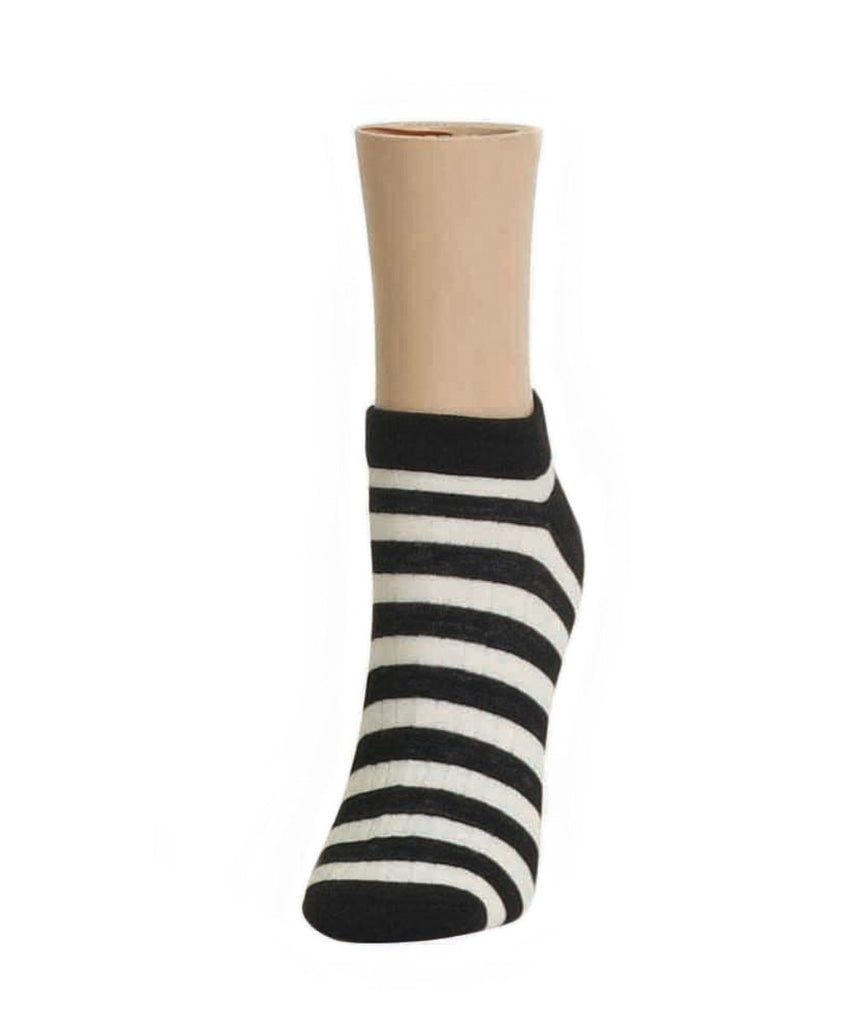 Color Stripe Soft-Fit Cotton-Rich Low Cut Women's Socks - MeMoi - 1