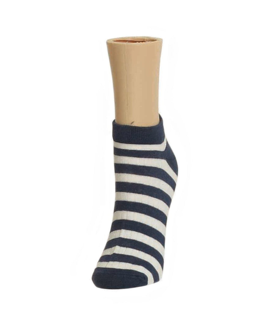Color Stripe Soft-Fit Cotton-Rich Low Cut Women's Socks - MeMoi - 2