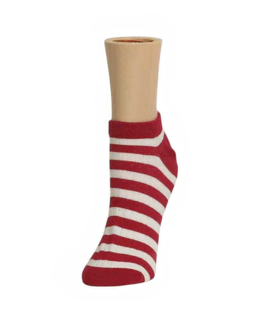 Color Stripe Soft-Fit Cotton-Rich Low Cut Women's Socks - MeMoi - 3