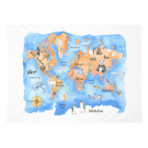 Animal Map Watercolor Tapestry
