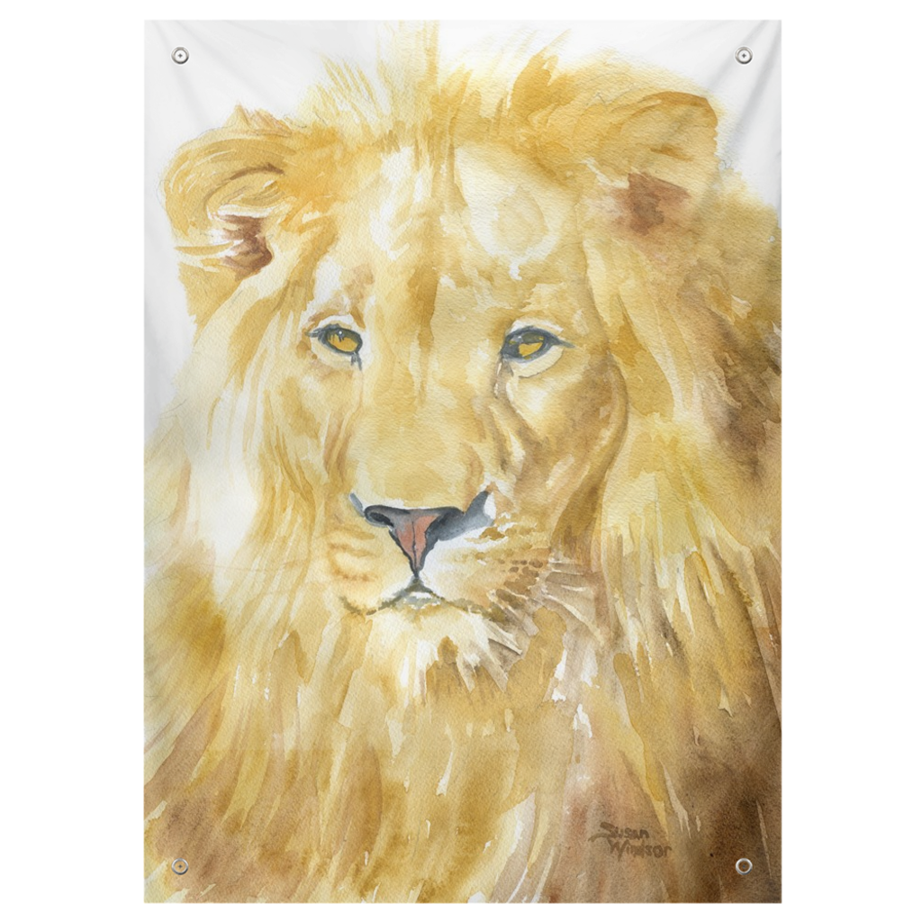 Lion Watercolor Tapestry