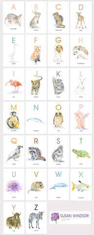 Animal Alphabet Flash Cards - 4 x 6