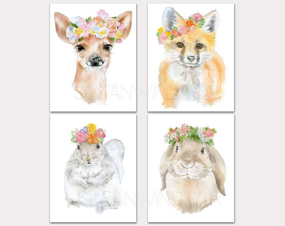 Woodland Animal Floral Art Print Set One - Set of 4 Animals - Deer, Bunny, Fox, Squirrel